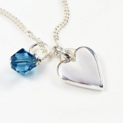 Heart on Silver Chain with Swarovski Crystal