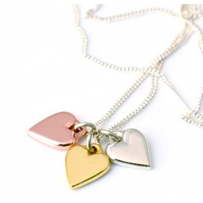 TRIO of Hearts | Rose, Silver and Gold on Silver Chain