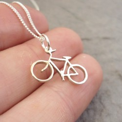 Large Bicycle Pendant on 45cm Chain| Sterling Silver