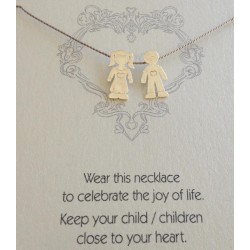 Little Girl & Boy   on Grey Silk Necklace