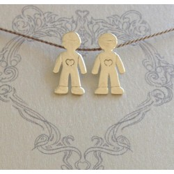 Little Boys | on Grey Silk Necklace