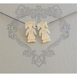 Little Girls on Grey Silk Necklace