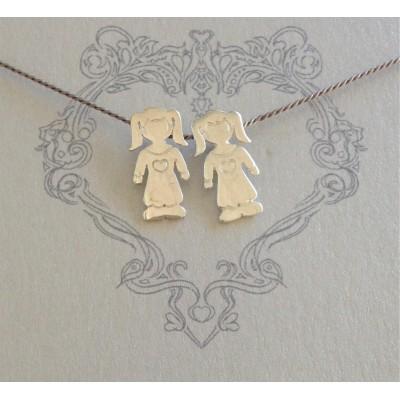 Little Girls on Grey Silk Necklace